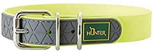 HUNTER Convenience Hundehalsband, Kunststoffgemisch, wasserfest, schmutzabweisend, pflegeleicht, 55, neongelb