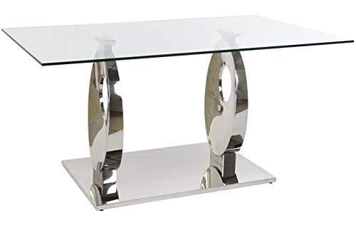 DRW Mesa de Comedor de Cristal y Acero en Transparente y Cromado 160x90x76cm