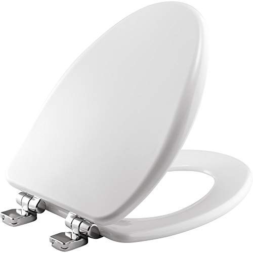 BEMIS 19170CHSL 000 Alesio II Toilet Seat with Chrome Hinges will Slow Close, Never Loosen and Provide the Perfect Fit, ELONGATED, Durable Enameled Wood, White