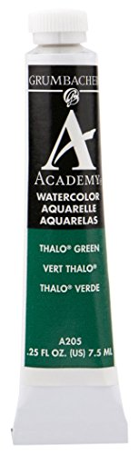 Grumbacher Academy Watercolor Paint, 7.5ml/0.25 Ounce, Thalo Green (Blue Shade) (A205)