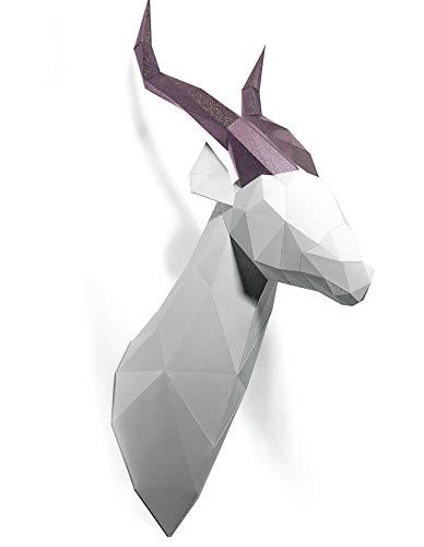 Oh Glam Home Kit DIY Gacela Papercraft Kit Trofeo de Pared cartón 3D Escultura Origami 3D Puzzle 3D PRECORTADO