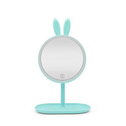 Ysy Led-mini-make-upspiegel, bureau-vulling, live light instelbaar, 90 graden rotatie, prinses, opslag, antislip, draagbaar