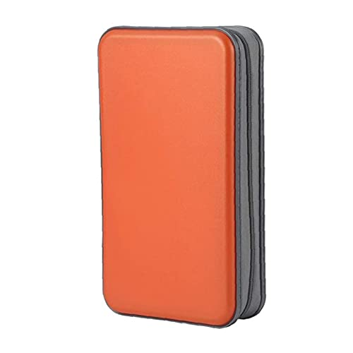 Murezima Bolsa de Almacenamiento de CD/DVD, Bolsa de Almacenamiento Organizador DVD Caja de CD Caja de lápiz Caja de Billetera portátil 80 Capacidad Portátil Naranja