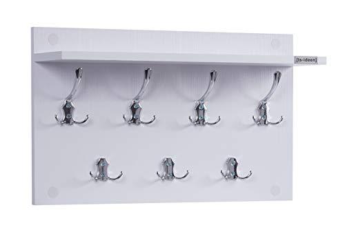 ts-ideen Garderobe Wandgarderobe Flur Diele Paneel Hakenleiste Holz weiß mit 7 Haken und einer Ablage 55 x 33 cm