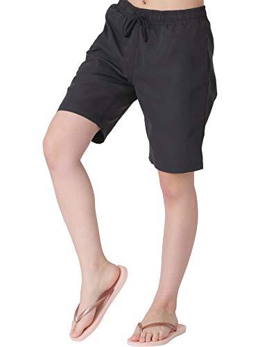 ICEPARDAL(アイスパーダル) サーフパンツ レディース 水着 ロング丈 全20色柄 IR-7600 ブラック W XL (2L)サイズ ボードショーツ 水陸両用 体型カバー ランニング ウェア 黒色 ブラック