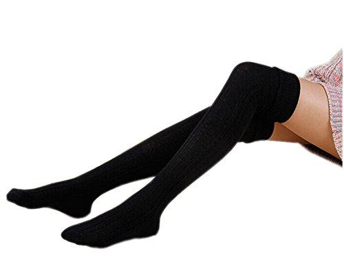 AnVei-Nao Womens Girls Winter Over Knee Leg Warmer Knit Crochet Socks Leggings Black