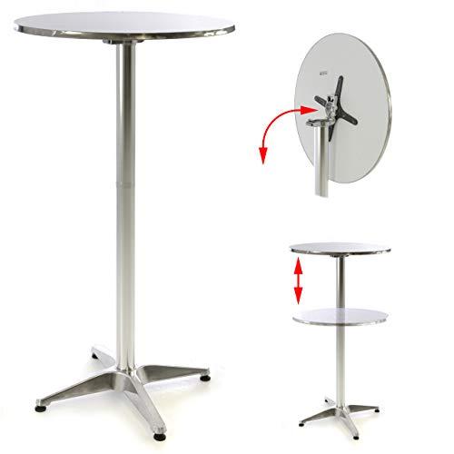 Nexos SC00065 Stehtisch Bartisch 115 cm Aluminium Silber glänzend Tischplatte 60 cm klappbar Platte 2 cm Edelstahl Hochzeit Empfangstisch Bistrotisch Klapptisch