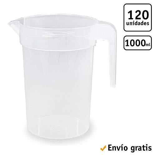 TELEVASO 120 uds - Jarra 1 litro con asa - Plástico (PP) traslúcido - Reciclable y Reutilizable - Ideal para Cerveza, Vino, Fiestas, Eventos, hosteleria