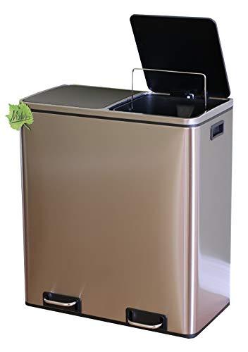 Made for us® 60 L Edelstahl Tret-Abfalleimer 2x30 L Mülleimer 2 Fächer für Küchen, 2-Fach Mülltrennung m. 2 Inneneimern, 2er Müll-Trennsystem 60 Liter Abfallsammler Pedal-Treteimer mit Deckel