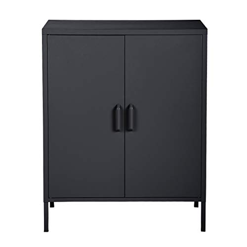 HouseinBox Double Door Locker Modern Style Metal Cabinet with 3 Shelves for Living Room Bedroom Office,Black…