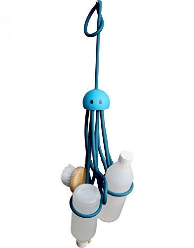 Formverket Octopus Shampoohalter, Duschgelhalter ohne Bohren, Oktopus zum Hängen mit 9 verstellbaren Schlaufen aus Latex, blau