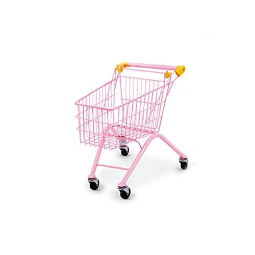 LMJ Carro de compras para niños Carro de compras plegable de acero para niños para viajar y jugar 25 x 14 x 12,9 pulgadas, portátil (color: rosa)