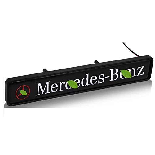 HAOXUAN Emblema de Estrella a la Parrilla Delantera del Coche Logotipo de LED Insignia Delantera Central Apta para Mercedes Benz (se Puede Personalizar el Logotipo)