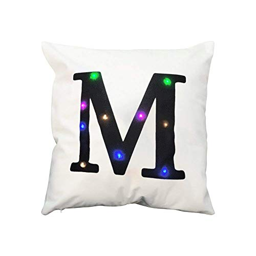 "ZUODU Cushion Cover 45cm x 45 cm LED Colorful Flashing Velvet Letter Cushion Cover Pillow Cover Bar Use Party Use Festival Use Gift Use18""x18"" or 45cm x 45cm 1pc (M)"