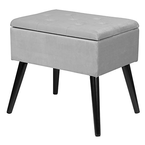 eSituro Ottoman Storage Bench Chest Padded Footstool Linen Pouffe Chair Light Grey Bed End Bench Shoe Bench Children Toy Box Stool Milking Stool