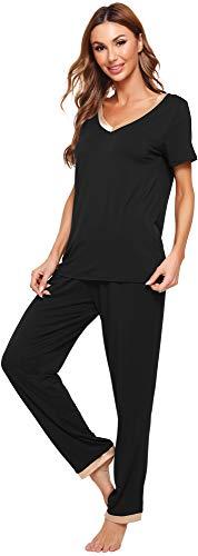 WiWi Womens Bamboo Pajama Sets Soft V Neck Sleepwear Short Sleeves Top with Pants Pjs Lightweight Loungewear S-3X, Black, Large
