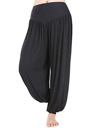 Damen-Hose, Hip-Hop, lang, für Yoga, Pilates, Jogging, Baggy Harem, super weich, hohe Taille Gr. Large, Schwarz