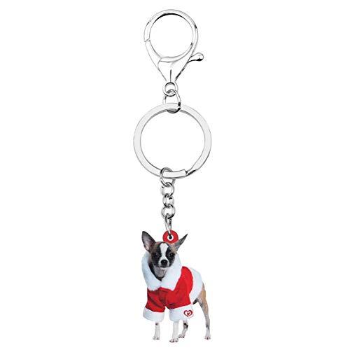 HXYKLM Acryl Kerst Kostuum Jurk Chihuahua Hond Sleutelhangers Sleutelhangers Sleutelhangers Tas Auto portemonnee Sleutelhanger Voor Vrouwen Meisjes Decoratie Gift