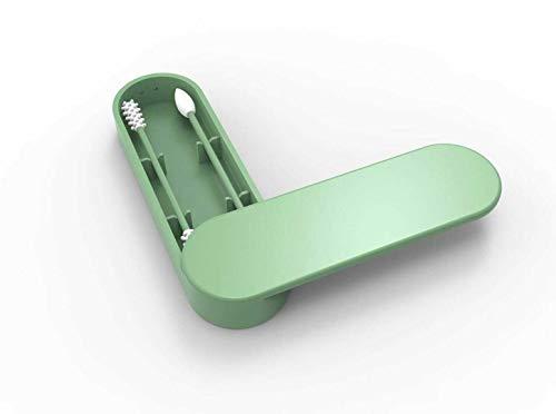 Herbruikbare katoenen wattenstaafjes met dubbele ecologische kop, van siliconen voor de dagelijkse reiniging van make-up-sticks met opbergdoos. Groen