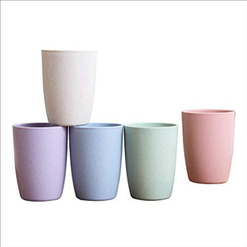 5 Stück Weizenstroh Trinkbecher Mundwasser Tasse, Zahnbürste Tasse Weizenstroh, Tasse Unzerbrechlich Wiederverwendbare Trinkbecher, Trinkbecher, Umweltfreundlicher, Beige, Blau, Pink, Grün, Lila