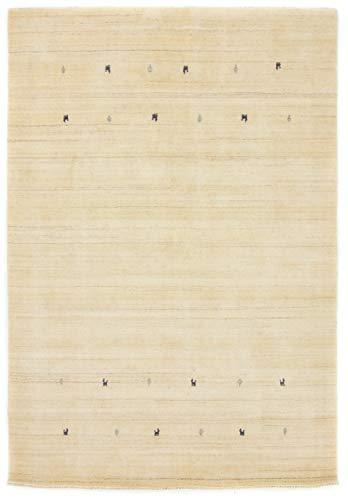 carpetfine Wollen Vloerkleed Gabbeh Uni Wit 80x150 cm | Modern tapijt voor woonkamer en slaapkamer