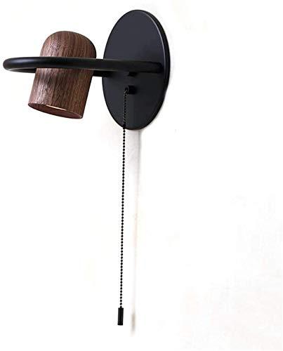 Despeje Luz de pared rústica cubierta de madera con el interruptor de la cuerda del tirón, Negro ajustable del metal lámpara de pared de la cabecera, for la lámpara de la sala de estar la pared del do