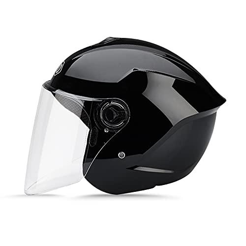 casco scooter offerta LIONCIANO Metà Aperto Faccia Casco Del Motociclo Con Occhialoni ,Casco Modulare Scooter,l'Anti-Collisione Protegge La Sicurezza Stradale Degli Utenti(Nero)