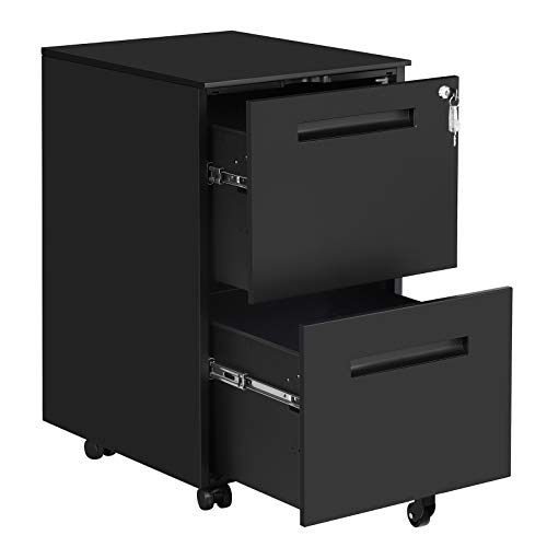SONGMICS File Cabinet with 2 Drawers, Rolling Steel Office Cabinet with Lock, for A4, Legal/Letter Sized Documents, Hanging File Folders, Pre-Assembled, Black UOFC52BK