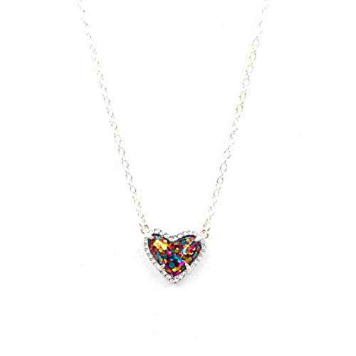 Bwer Piedra de abulón con Purpurina sintética, pequeño corazón en Forma de Concha de Resina 3D, Mini Collares de Amor Druzy para Mujer, Colgantes de Regalo, Brillo Plateado, 6, Stud