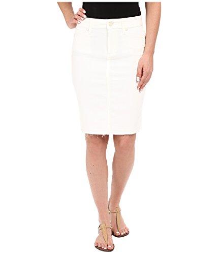 Paige Womens Dierdre Frayed Hem Pencil Denim Skirt White 26