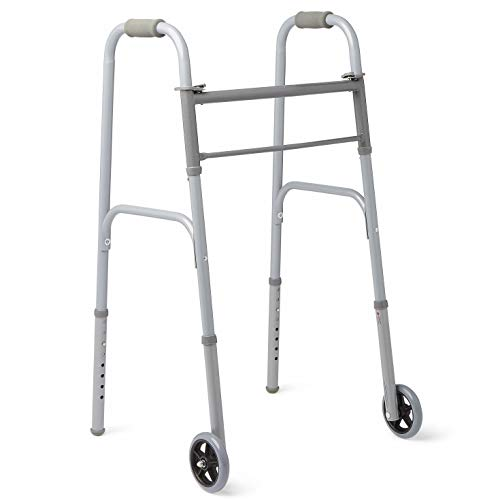 """Medline - MDS86410W54BH Easy Care Two-Button Folding Walkers with 5"""" Wheels"""