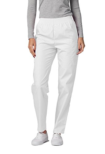 Adar Universal Scrubs for Women - Tapered Utility Cargo Scrub Trousers - 503 - White - L