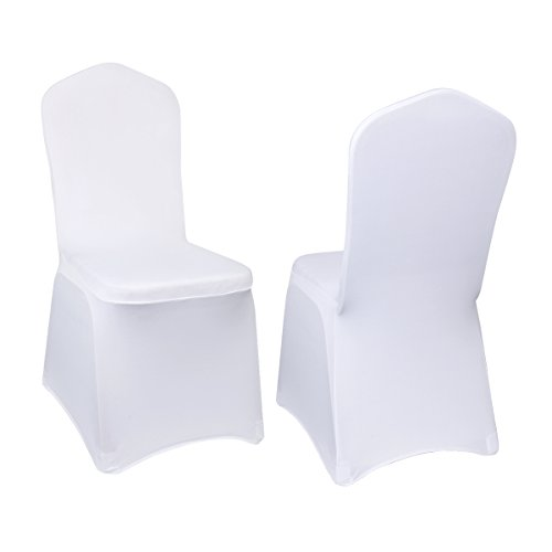 CUSFULL 10 Pcs Polyester Spandex Banquet Wedding Party Chair Covers Universal (White)