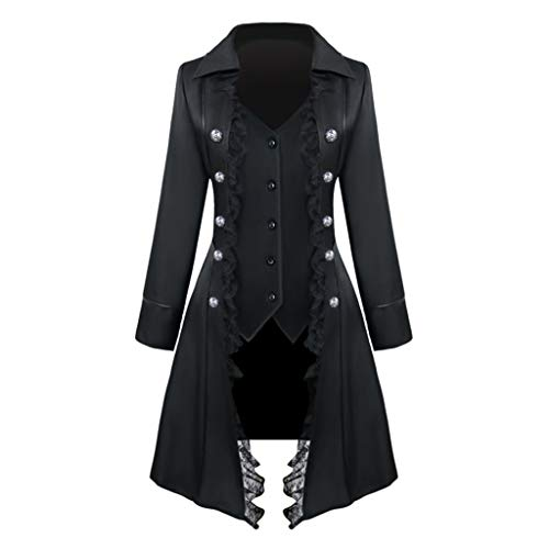 E-Scenery Women's Triple Breasted Coat Fashion Retro Medieval Solid Color Long Sleeve Tops Outwear Black