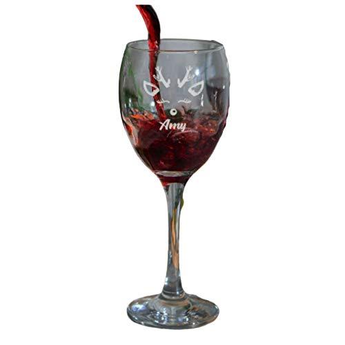 Be-Creative Copa de vino blanco o rojo grabado personalizable, cristal grabado – (cristal de Navidad) estilo 1