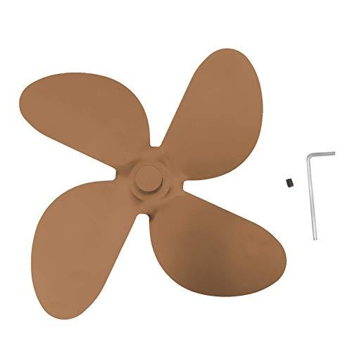 Tiyila Cuchillas de Repuesto para Chimenea Ventilador, 4-Blades Calor Accionado Estufa de Leña Ventilador Veletas - Marron