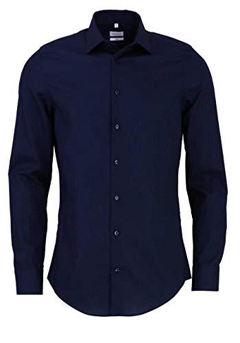Seidensticker Herren Business Kent Businesshemd, Blau (Dunkelblau 19), 40