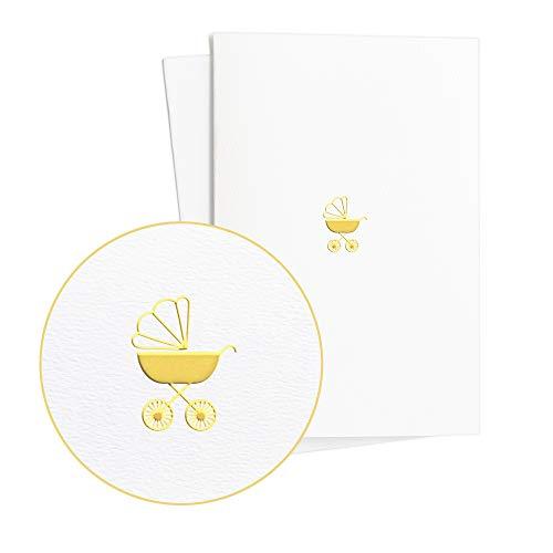 Edle Glückwunschkarte zur Geburt mit Kinderwagen in Goldprägung auf Strukturiertem Papier|Grußkarte Baby Neutral Junge oder Mädchen|Baby Shower, E37