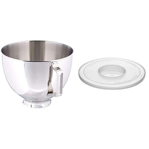 KitchenAid 5K45SBWH Polished Stainless Steel Bowl, 4.3 Litre (Optional Accessory for KitchenAid Stand Mixers) with KBC90N Plastic Cover, Set of 2