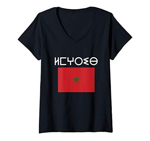 Damen Flag Of Morocco Souvenir Standard Moroccan Berber T-Shirt mit V-Ausschnitt