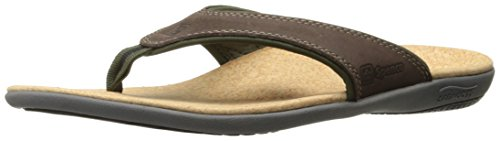 Spenco Men's Yumi Leather Sandal, Dark Brown, 10M Medium US