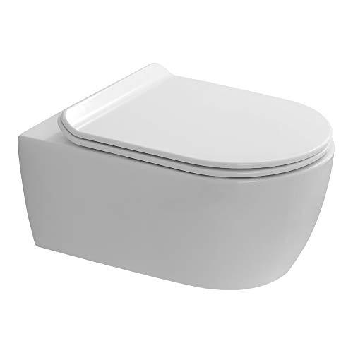 WC Suspendu sans Bride SANEO, Abattant de Haute qualité declipsable pour Un Entretien Facile, Traitement anticalcaire et antibactérien, Design épuré et Fixations Invisibles