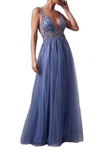 Mascara Steele blau mc186017 ray Perlen Tüll Netz Kleid