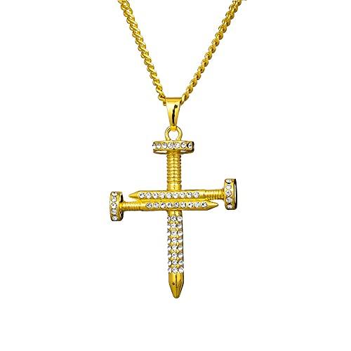 TTbaoz Collar de Cadena de Cristal Colgante Cruzado Hip Hop Accesorios de Moda Mujer Hombre joyería de Fiesta