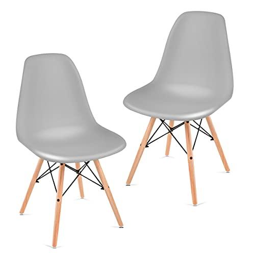 2 Sillas gris de diseño retro estilo RCD-7189 pack 2 sillas -Mchaus