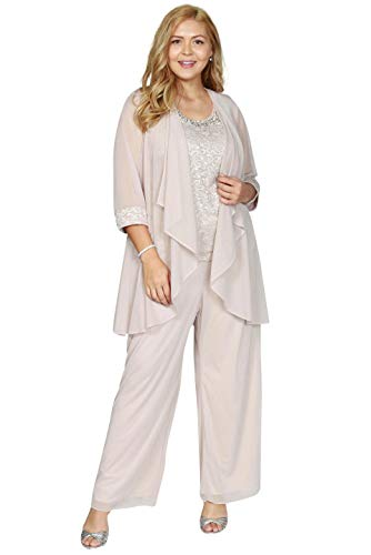 R&M Richards Plus Size Pant Suit Made in USA Champagne (Apparel)