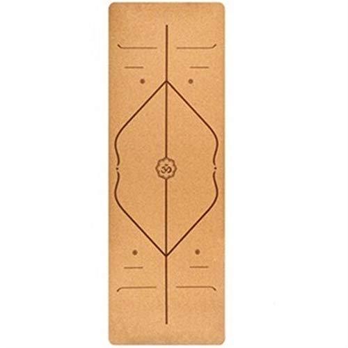 SSGLOVELIN 5mm Natural Cork Yoga Mat Inodoro TPE Fitness Gym Deportes Mats Pilates Ejercicio de ratón Antideslizante Yoga Mats Absorbe Sudor 183x68cm (Color : Position Line)