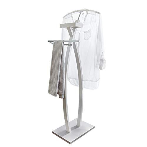 Pureday miaVILLA Herrendiener Alfred - Kleiderständer mit Ablagefach - Weiß Chrom - Höhe ca. 116 cm