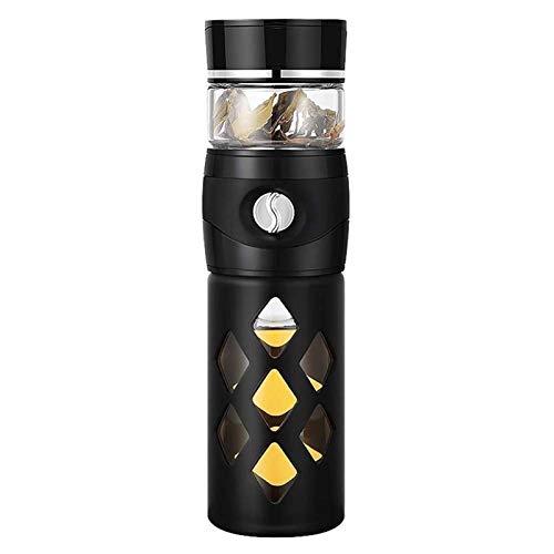 Termo Café para Llevar Water Bottle Hervidor de regalo de la taza de té-Separación Copa de hombres y de mujeres resistentes a golpes de gran capacidad de la taza de té de cristal de la botella de filt