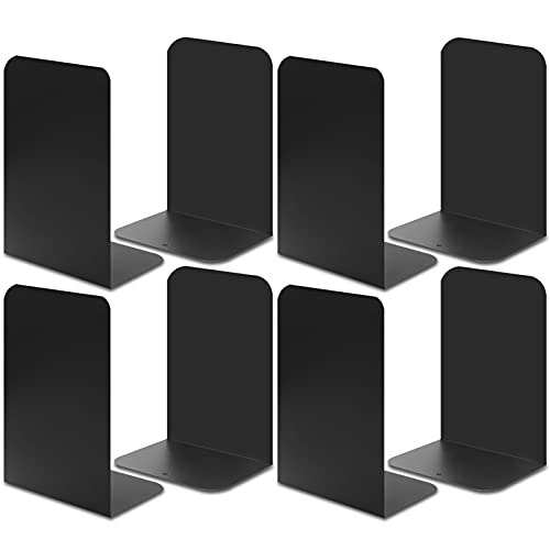 Metal Bookends, INZONELAN Black Heavy Duty Book Ends for Shelves with Felt Pads, Book Stoppers and Supports, Non-Skid Decorative Holders Desktop Organizer for Home Office School Library Decor, 4 Pairs